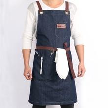 WEEYI Denim Kitchen Cooking Apron w/Adjustable Cotton Strap Large Pockets Blue фартук кухонный Barista Men and Women Homewear