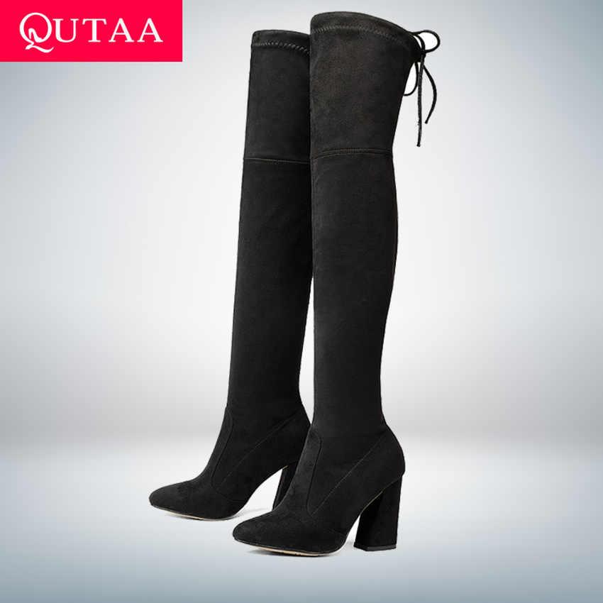 QUTAA 2020ใหม่Flockหนังผู้หญิงกว่าเข่าบู๊ทส์Lace Upรองเท้าส้นสูงเซ็กซี่ฤดูใบไม้ร่วงผู้หญิงรองเท้าผู้หญิงฤดูหนาวรองเท้าขนาด34-43
