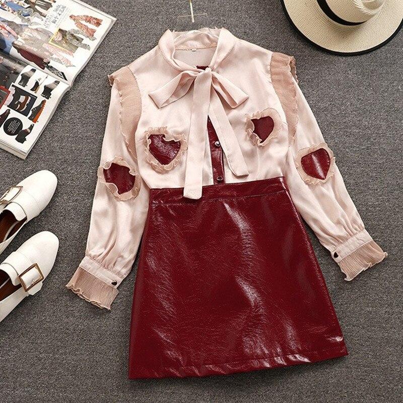 Printemps femmes ruban noeud papillon col coeur PU Patchwork mousseline de soie Blouse chemise + rouge PU cuir jupe deux pièces fille jupe costume