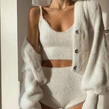 Для женщин 2020 новые плюшевые мохеровый костюм одежда на бретелях