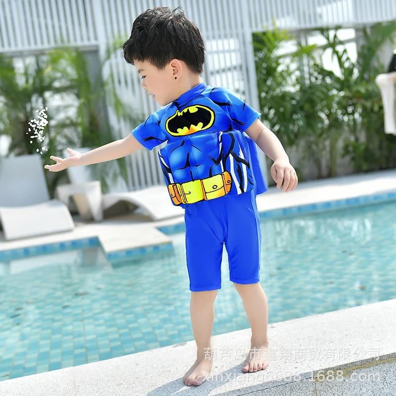 2019 New Style KID'S Swimwear Boy Children One-piece Batman Floating Mechanical Swimming Infants Swimwear