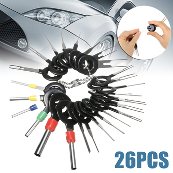 26pcs Car Truck Electrical Wire Removal Probe Terminal Wiring Crimp Connector Pin Removal Key Install Tool Kit 26pcs box electrical wire connector 1 2 3 4 pins ip68 waterproof car wire cable plug connectors 12a crimp terminal car fuse kits