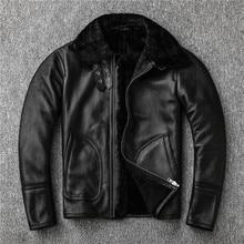 Frete grátis, vendas 2019 inverno pele de carneiro casaco de pele, shearling jaqueta, grosso casaco de couro quente. estilo casual masculino tamanho grande
