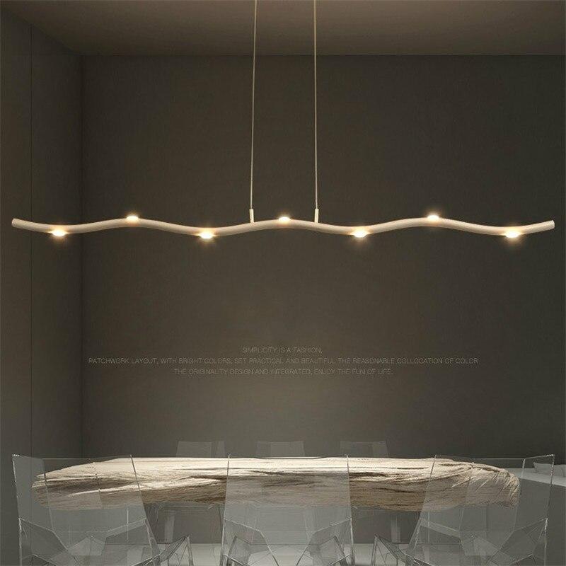 Modern LED Restaurant Long Strip Pendant Lights Nordic Aluminium Hanging Lamp Loft Industrial Bar Dining Room Deco Light Fixture