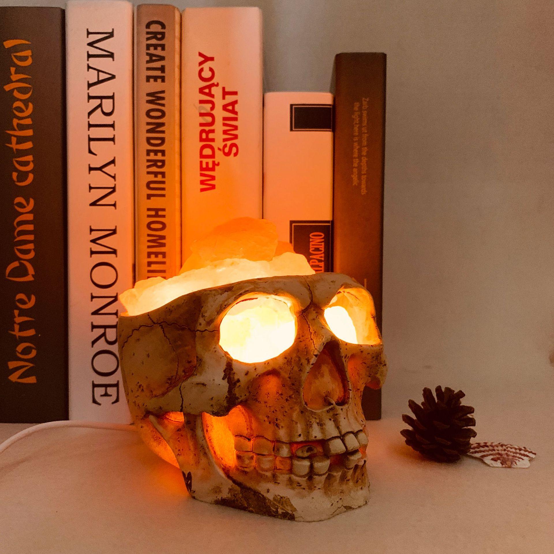 Veilleuse Halloween 3D crâne himalayen sel lampe USB Dimmable Lampara USB maison Bar café lumineux noël vacances créatif
