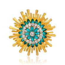 Danrun autumn new fashion western style sapphire diamond sunflower brooch accessories female foreign trade original single
