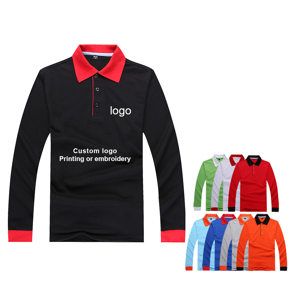 Men's And Women's Pocket Long-sleeved Polo Shirt Overalls Embroidery Logo Advertising Shirt Factory Clothing Custom Printing