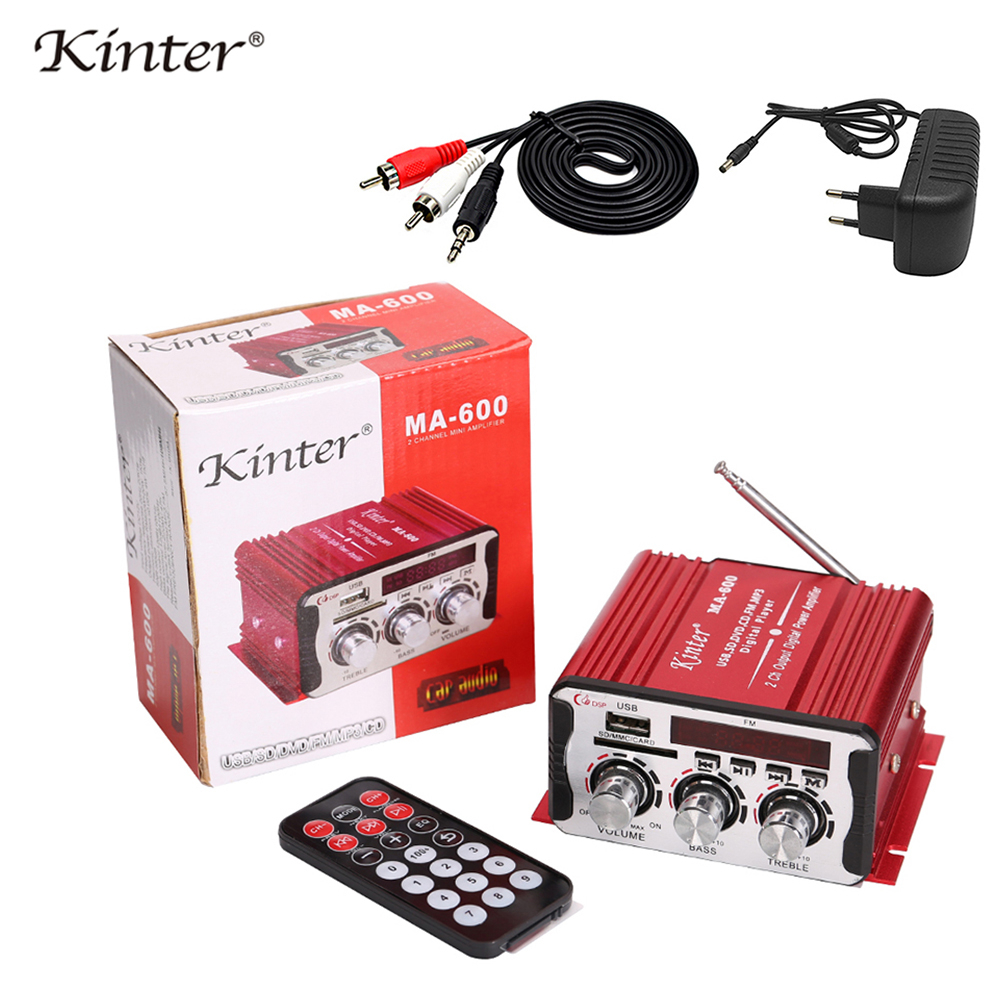 Kinter MA 600 Mini Amplifier Audio with FM Radio 2CH Bluetooth Amplifiers DC12V SD USB Input Play Stereo Sound Super Bass-in Amplifier from Consumer Electronics