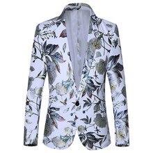 Men's Casual Business Wedding Long Sleeve Print Floral Suit Coat Jacket Blazers Single button For Men Stylish Suit Jacket 9.24 stylish stand neck long sleeves floral print jacket for women