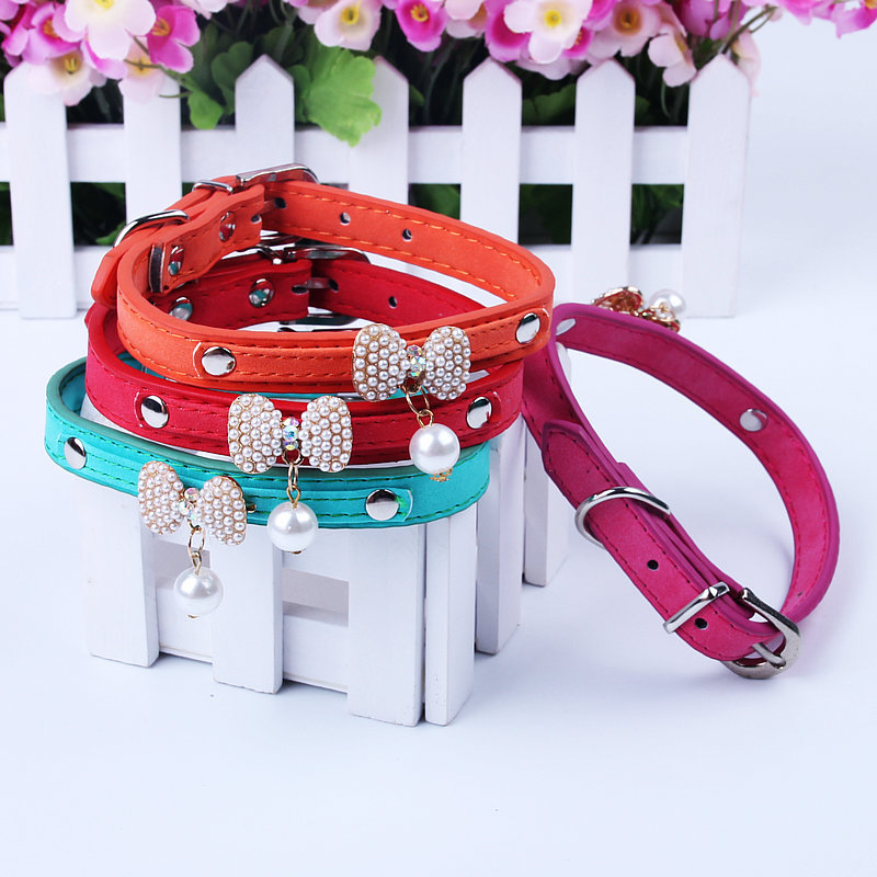 Pearl Bow Grinding PU Leather Pet Collar Collar Dog Hide Substance Collar Pet Supplies