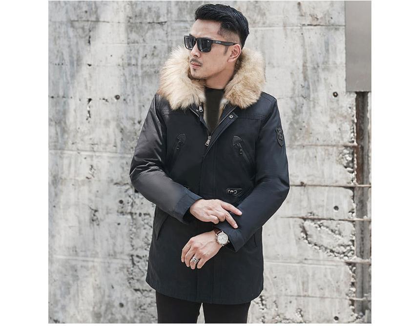 H84a495582468447b86300811ed7af85an Batmo winter wolf fur liner hooded jacket men, winter warm parkas men plus-size L-5XL