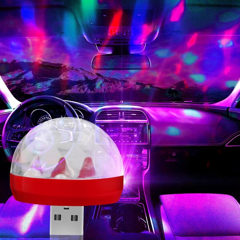 New USB Car Ambient LED Light DJ RGB Mini Colorful Sound and Music Control Lamp Car Interior Decorative Lamp Ambient Light