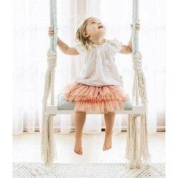 Baby Schommel Stoel Opknoping Schommels Set Kinderen Speelgoed Schommelstoel Massief Houten Stoel met Kussen Veiligheid Baby Indoor Babykamer Decor DQQ001