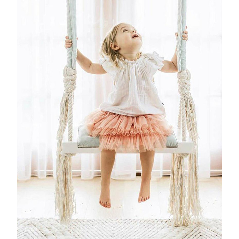 Baby Swing Chair Hanging Swings Set Children Toy Rocking Solid Wood Seat With Cushion Safety Baby Indoor Baby Room Decor DQQ001