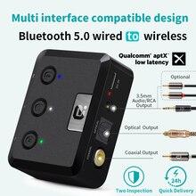 Оптический коаксиальный Bluetooth 5,0 приемник MR235B с микрофоном aptX ll 3,5 мм разъем Aux беспроводной аудио адаптер aptX низкая задержка