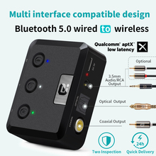 MR235B Optical Coaxial Bluetooth 5.0 Receiver with microphone aptX ll 3.5mm Jack Aux Wireless Audio Adapter aptX Low Latency