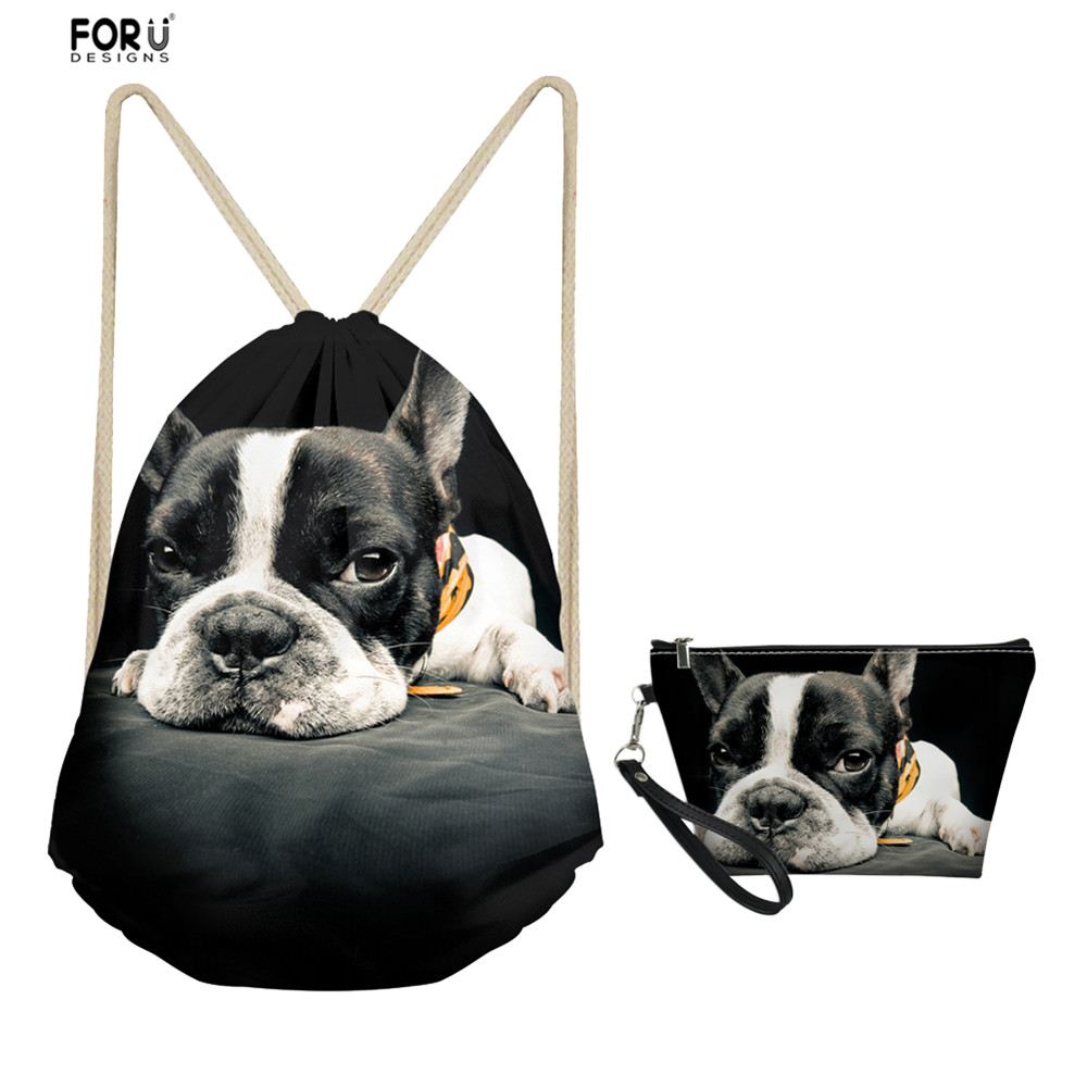 FORUDESIGNS Cute Animal Pug Dog Drawstring Bag Sets Small Shoulder Gymsack And Toiletry Bags For Women Ladies Travel Accessories