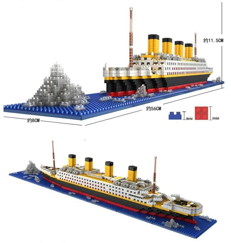 1860 Pcs Geen Lepining Rms Titanic Cruiseschip Model Boot Diy Diamant Bouwstenen Bricks Kit Kinderen Kinderen Speelgoed Geschenken loz