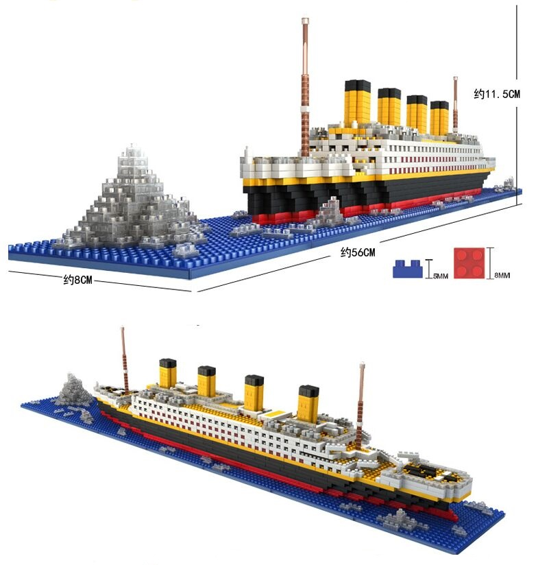 1860 Pcs No Lepining RMS Titanic Cruise Ship Model Boat DIY Diamond Building Blocks Bricks Kit Children Kids Toys Gifts Loz