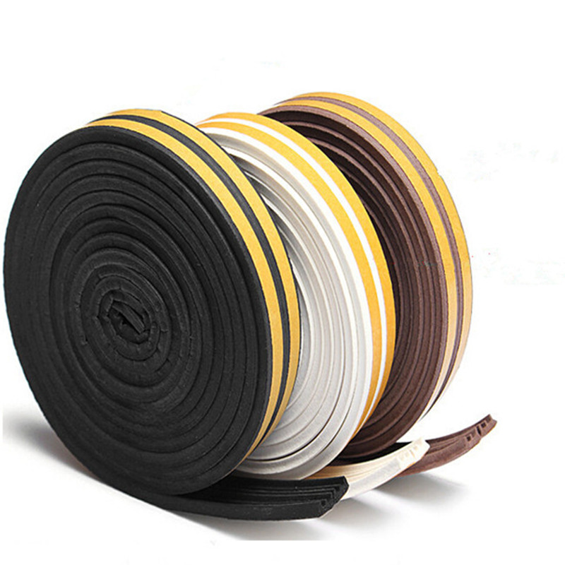 5 Meters D P E Type Draught Excluder with Self Adhesive Foam Rubber Seal Strip for Window and Door seal in Home ImprovementSealing Strips   -