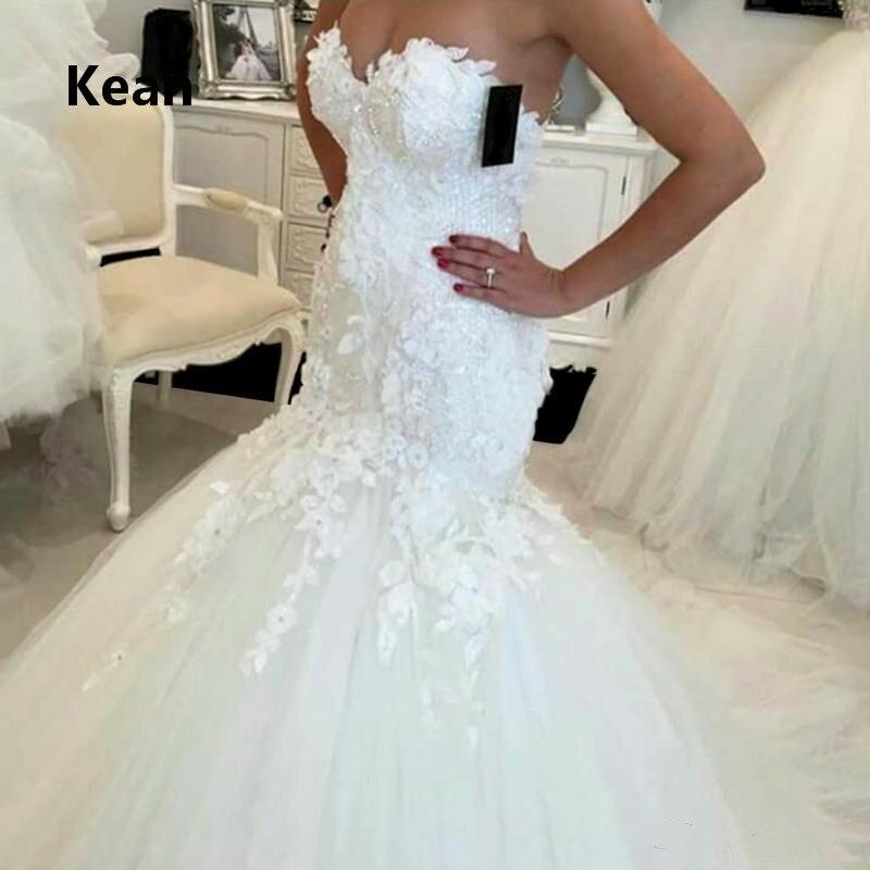 Elegant Strapless Wedding Dress Mermaid Applique Beads Vestido De Noiva Dubai Arabic Wedding Gown Bride Dress Robe De Mariee