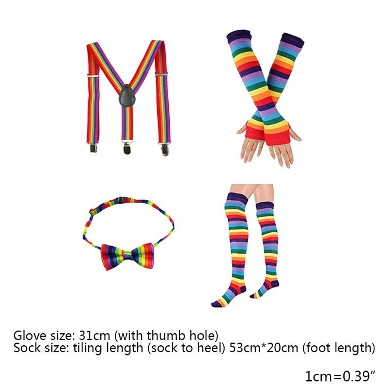 4 In 1 Adult Kids Rainbow Costume Set Stripes Socks Long Gloves Suspender Bowtie