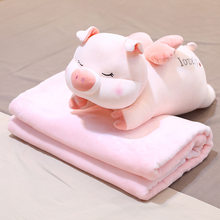Plush toys cute angel pig doll bed sleep with you cow long pillow blanket two in one