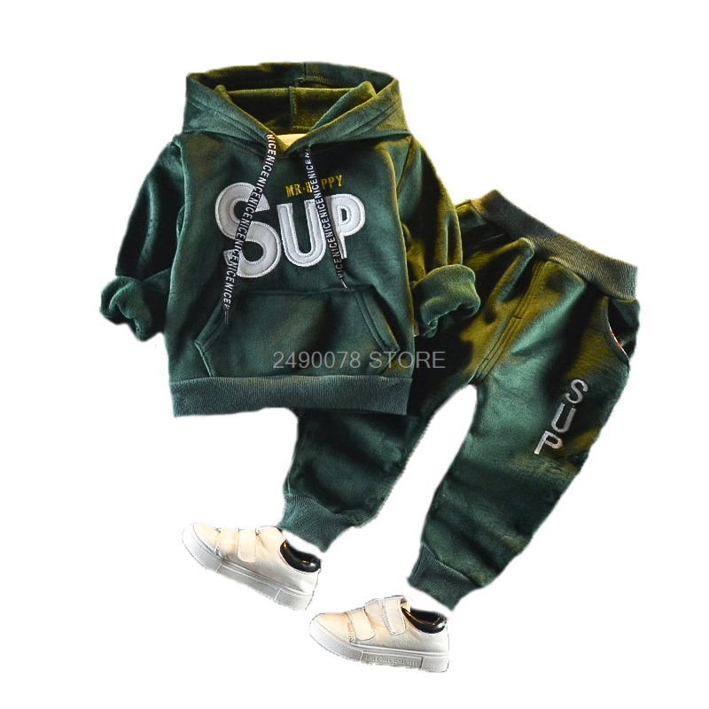 Newborn Baby Boys Girls Winter Warm Plus velvet Hoody Jacket +Pants 2Pcs Clothing Set Kids Children Sports Outdoor Tracksuit 1