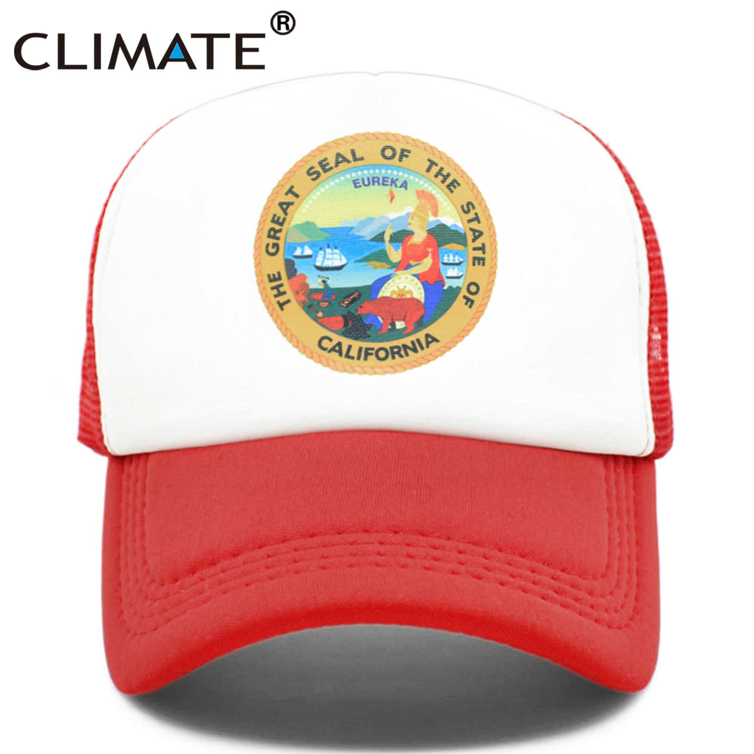 CLIMA California Trucker Cap California Republic Flag Orso Caps Hip Hop Uomo Donna Divertente Cappello Fresco Berretto Da Baseball Della Maglia di Estate cap