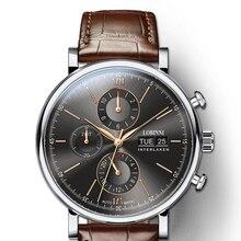 Luxury Brand Switzerland LOBINNI Men Watches Perpetual Calender Auto Mechanical Mens Clock Sapphire Leather montre homme