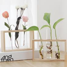 Home Office Modern Test Tube Planter Hydroponics with Wood Stand Landscape Glass Flower Bud Vase For Propagating Terrarium