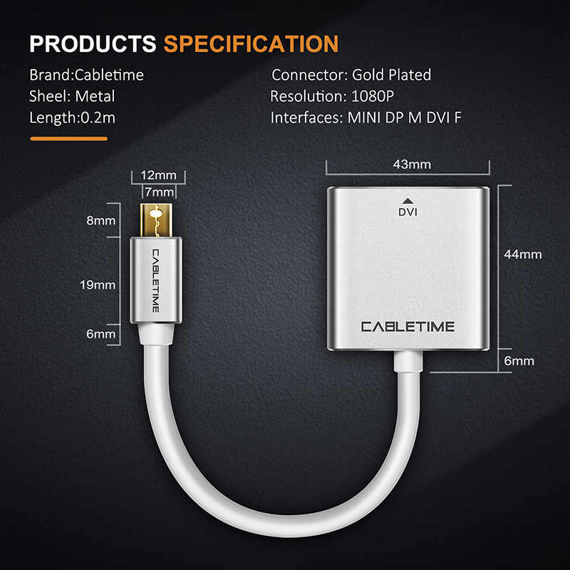 CABLETIME البسيطة Displayport إلى DVI محول الذكور إلى الإناث جديد الصاعقة البسيطة موانئ دبي إلى DVI F ل ماك بوك/ برو/الهواء C092