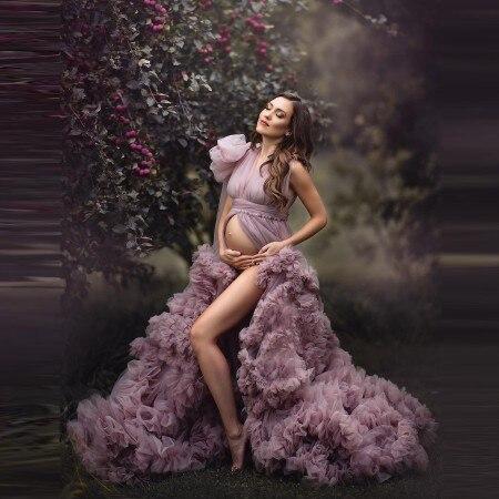 Elegante Lila Tüll Mutterschaft Kleid Für Foto Schießen Frontseiten-schlitz Open Sleeveless Ballkleid Shaoe Rüschen Mit Flares Nach Maß P
