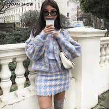 2019 Sweet Women Pearl Button Check Gingham Plaid Blazer High Waist A line Mini Short Skirts Long Sleeve Suits 2 Pieces Set(China)