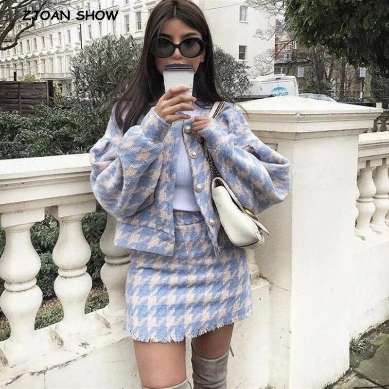 2019 süße Frauen Perle Taste Überprüfen Gingham Plaid Blazer Hohe Taille EINE linie Mini Kurze Röcke Langarm Anzüge 2 stück Set
