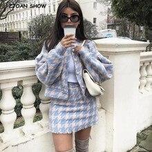 Vintage tatlı kadın inci düğme kontrol şemsiye ekose Blazer yüksek bel bir çizgi Mini kısa etekler uzun kollu takım elbise 2 parça Set
