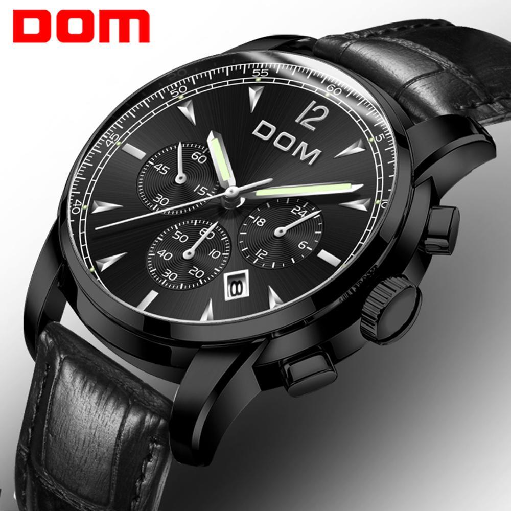 2018 New Watches DOM Men Watch Luxury Chronograph Men Sports Watches Waterproof Full Steel Quartz Men's Watch Relogio M-75D-1MPE