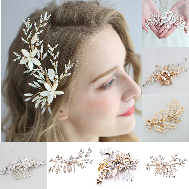 Flowers Bridal Hair Combs Bead Women Jewelry Accessories Beauty Handmade Bride Headwear Gold Head Comb Charms Pearls Headdress