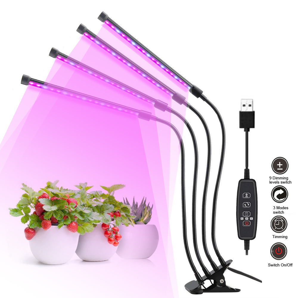 4 Heads Phyto Lamps Full Spectrum LED Grow Lights USB Clip-on Grow Lamp For Plants Seedlings Flower Indoor Fitolamp Growing Lamp