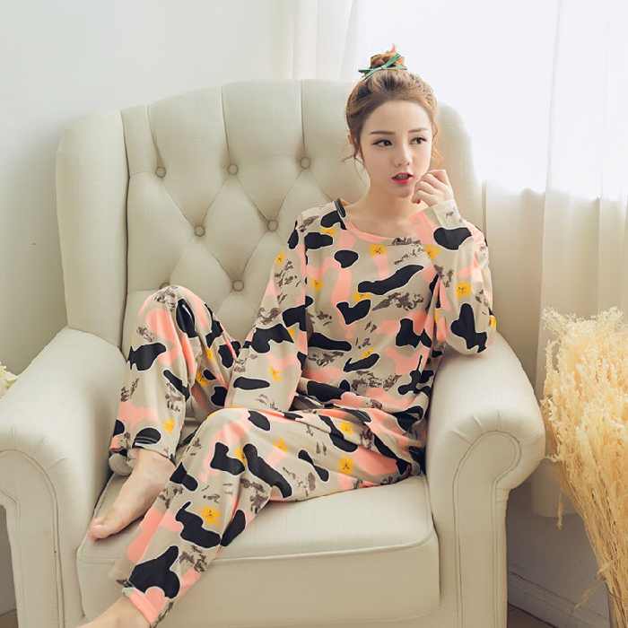 2020 Spring Autumn Women's Pajama Sets Long-Sleeve Trousers Summer Thin Cotton Camouflage Pajamas For Woman Comfort Home Suits