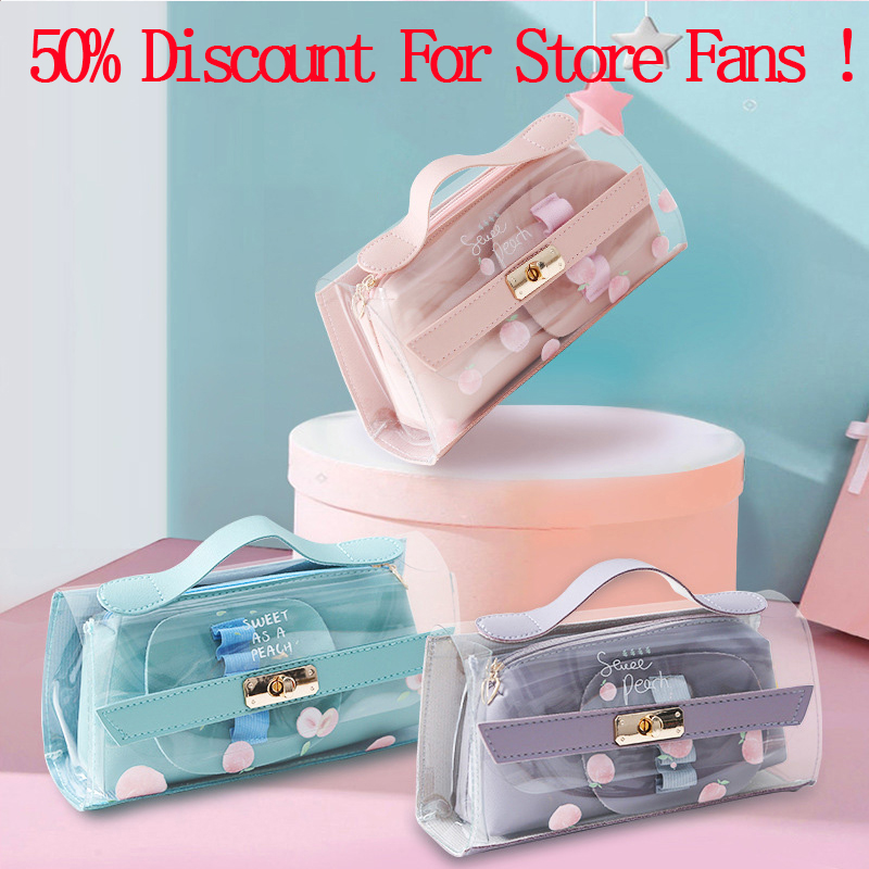 1Set=2Pcs Kawaii Transparent Pencil Case Cute Large Capacity Peach Pencil Pouch For Girls Gifts School OfficeSupplies Stationery