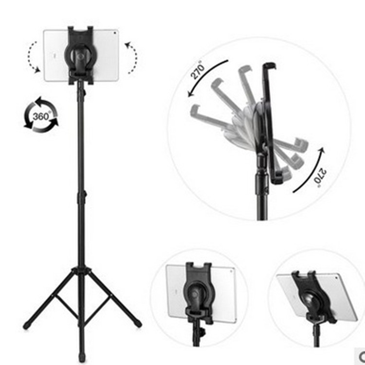 Tablet Tripod Universal Tripods Stand Adjustable Height Mount Holder With Tablet Clip And Holder Rod For 7-10 Inch Tablets