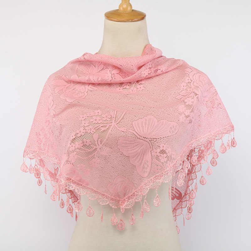 Nueva bufanda triangular a la moda de verano de encaje liso bufandas finas suaves de gasa de seda Pashmina estola Foulard Hijab Sjaal