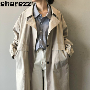 Sharezz Spring Autumn 2020 New Korean Casual Windbreaker Long Sleeve Loose Fit  Sing Breasted Khaki Trench Overcoats