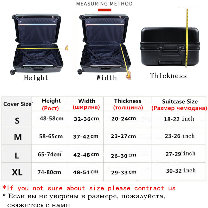 JULY'S SONG Suitcase Case 18-32Inch Elastic Luggage Protective Covers Dust-proof Suitcase Protective Covers Travel Accessories