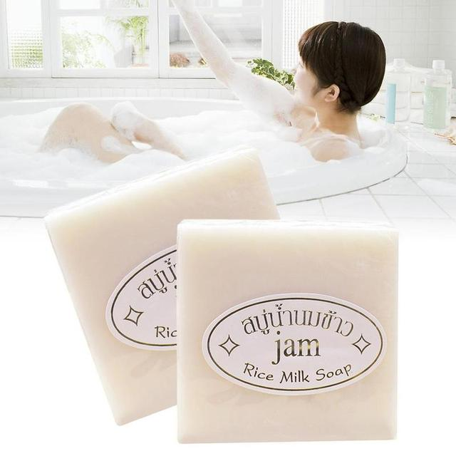 Handmade Rice Soap Thai Jasmine Rice Collagen Vitamin Skin Whitening Bathing Oil Control Whitening Moisturizing Tools 3