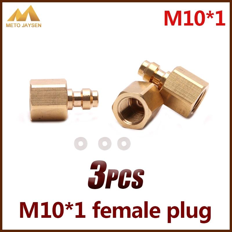 M10x1 8MM Female Plug Socket PCP Airforce Paintball Copper Quick Coupler Connector Fittings 3pcs/set