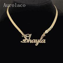 Colar de aço inoxidável personalizado do nome do pingente do ouro para o presente da joia das mulheres