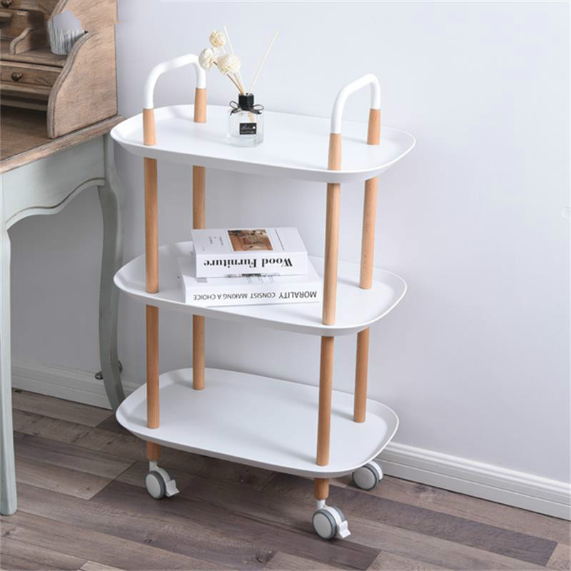 Nordic Hotel Dining Car Tea Trolley Home Multi-function Make Up Trolley Solid Wood Hairdresser Trolley Friseurwagen Cheap