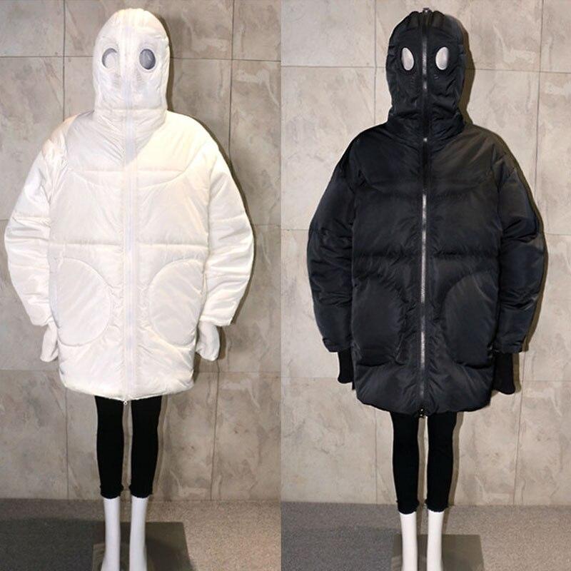 Plus Größe Frauen Jacke Winter Mantel Frauen Lose Parka Gesicht Kappe Kapuze Dicken Parka Weiß Schwarz Lustige Persönlichkeit Alien Mantel XX58 - 2